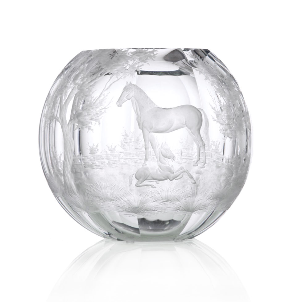 "Moser Crystal 10.6"" Globe Vase with Horses, Limited Edition"