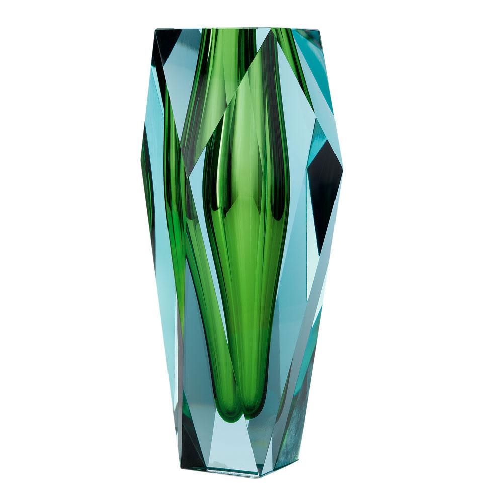 "Moser Crystal Gema Vase 10"" Beryl and Reseda"