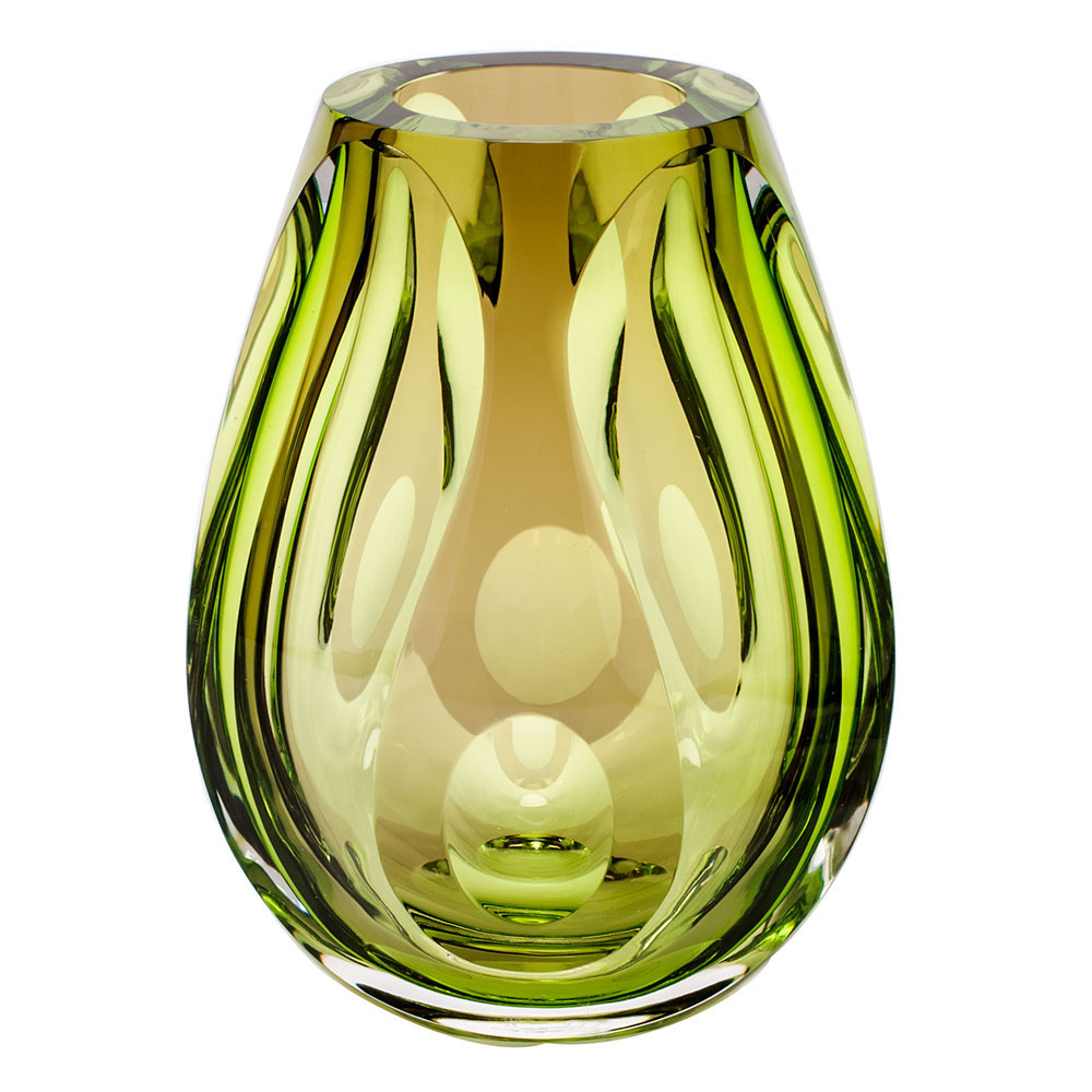"""Moser Crystal Guttula Vase 7.9"""" Clear and Reseda and Amethyst"""