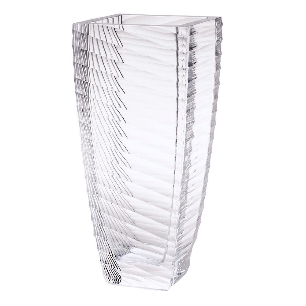 "Moser Crystal Interfere Vase 13.7"" Clear"
