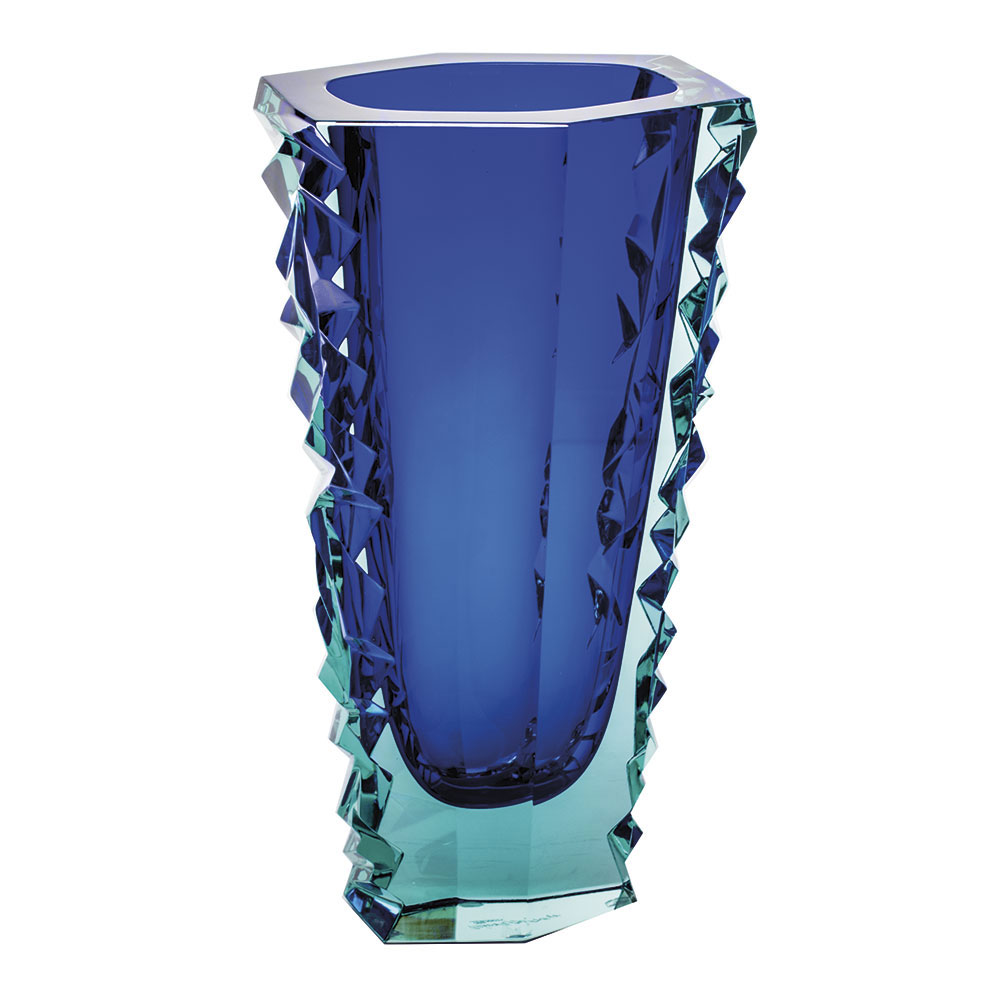 "Moser Crystal Icelandic Volcano Vase 11.8"" Diamond Cut, Beryl and Blue"