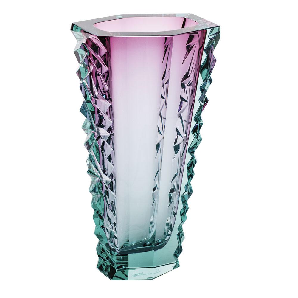 "Moser Crystal Icelandic Volcano Vase 11.8"" Diamond Cut, Beryl and Rose"