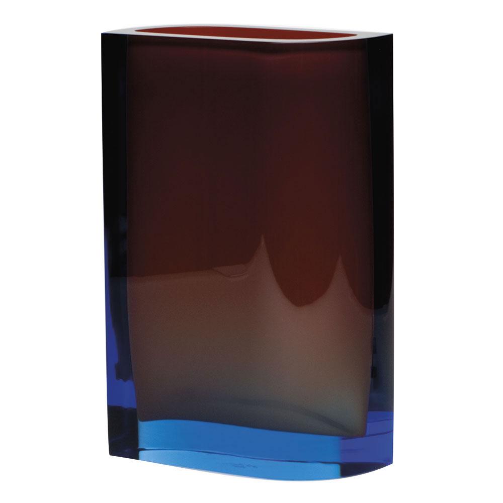 "Moser Crystal Kolorit Vase 11.8"" Aquamarine and Orange"