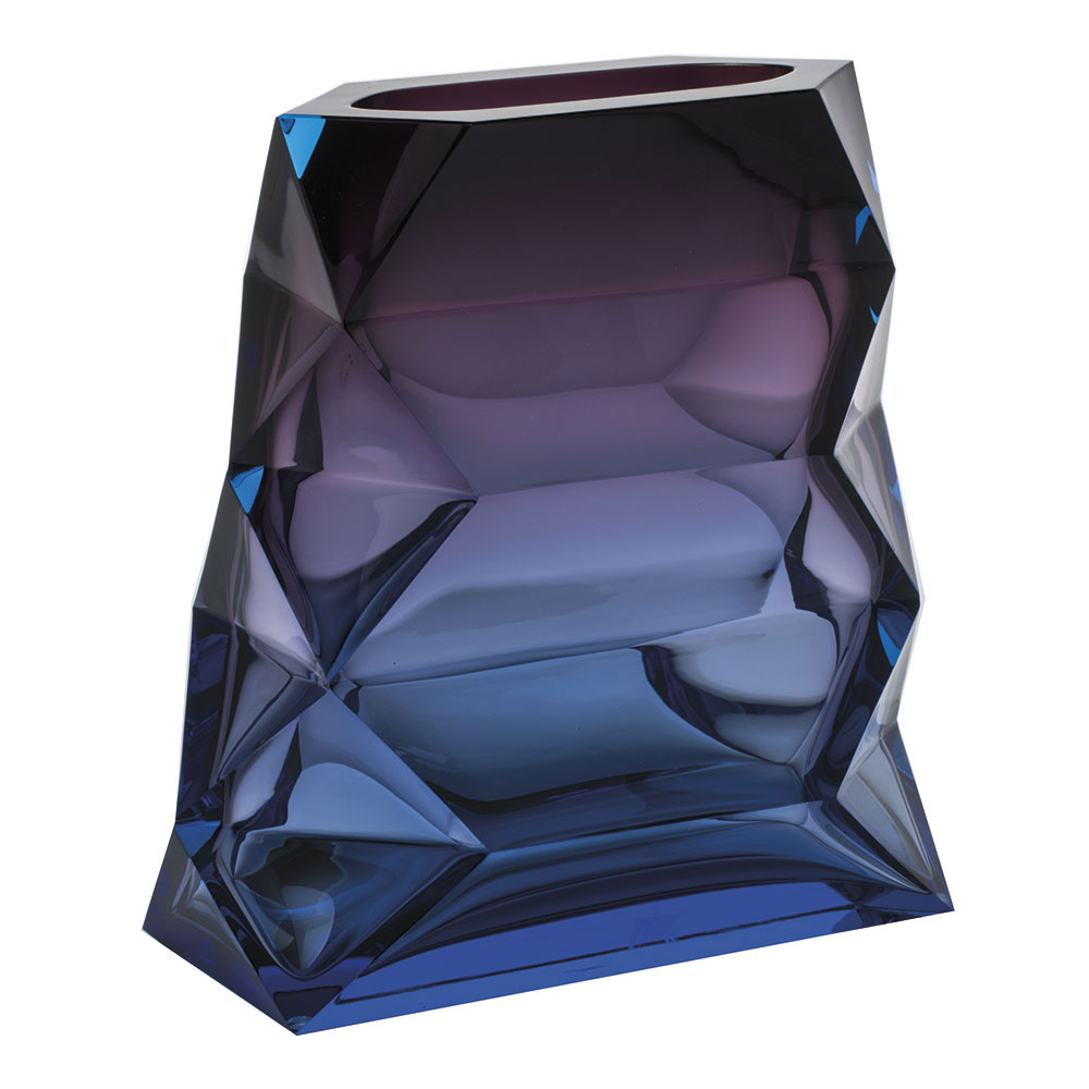"Moser Crystal Polygon Vase Wide 10.2"" Aquamarine and Amethyst"