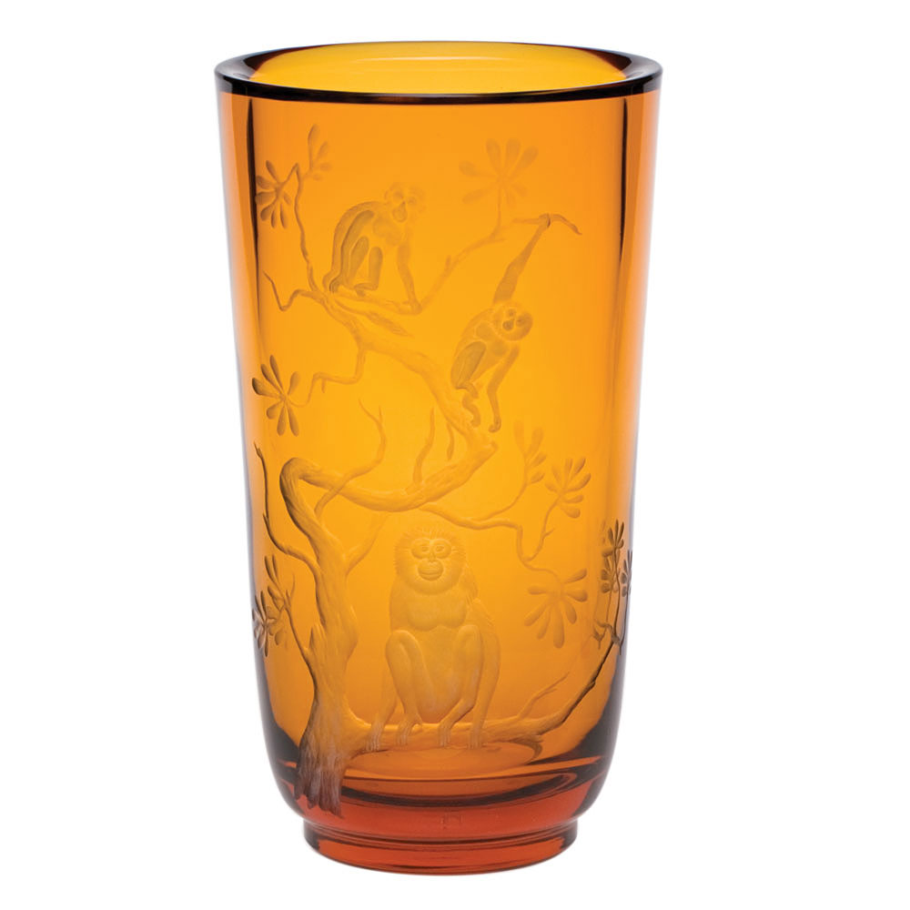 "Moser Crystal Paradise 12"" Vase, Monkeys - Topaz"