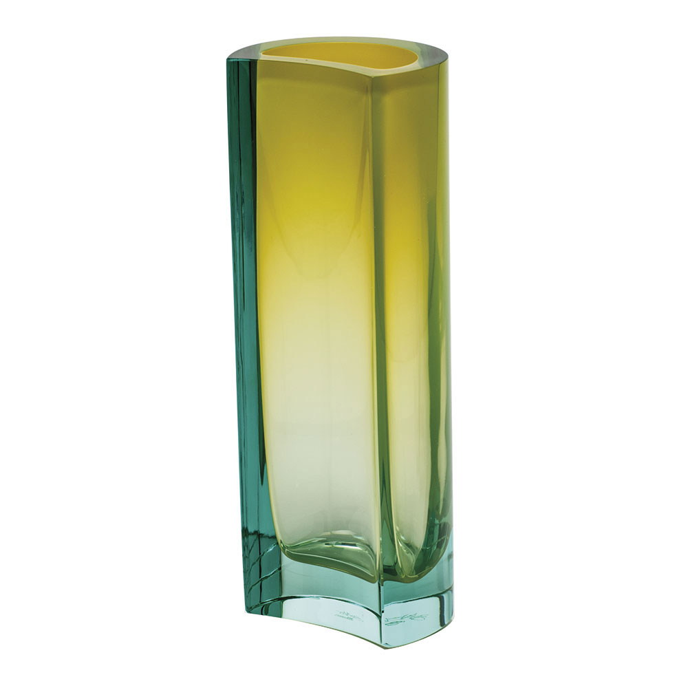 "Moser Crystal Rio Vase 9.8"" Beryl and Yellow"