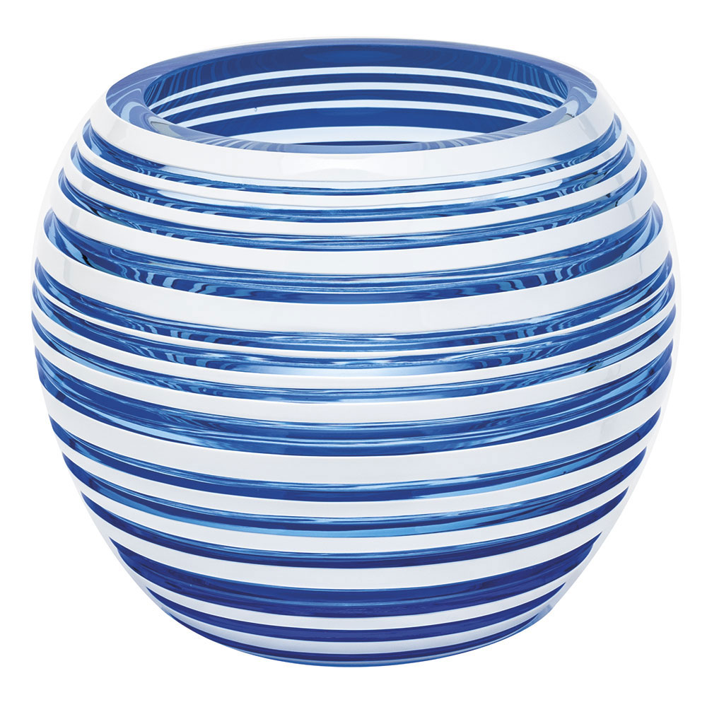 "Moser Crystal Stratis Vase 7"" Horizontal, Aqua and White"