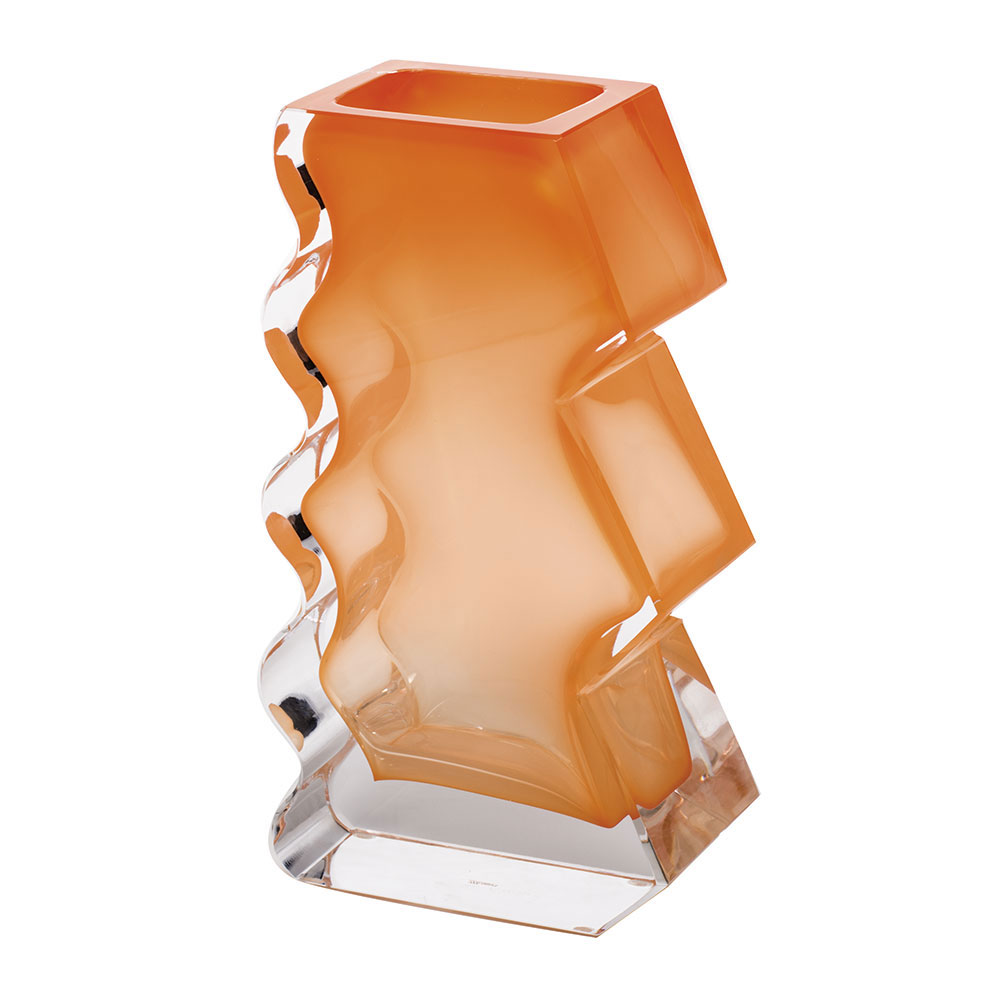 "Moser Crystal Softhard Vase 12"" Clear and Orange"
