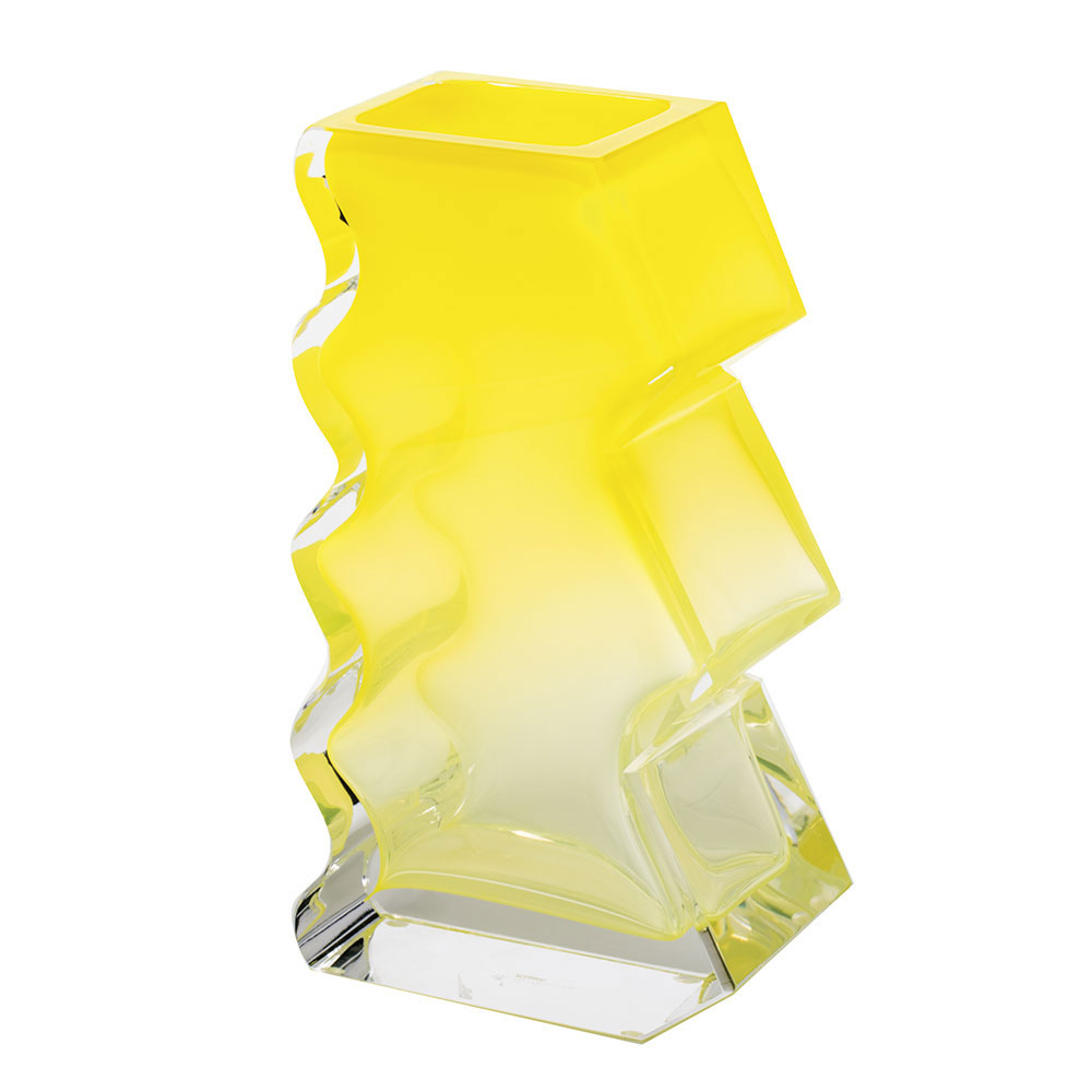 """Moser Crystal Softhard Vase 12"""" Clear and Yellow"""