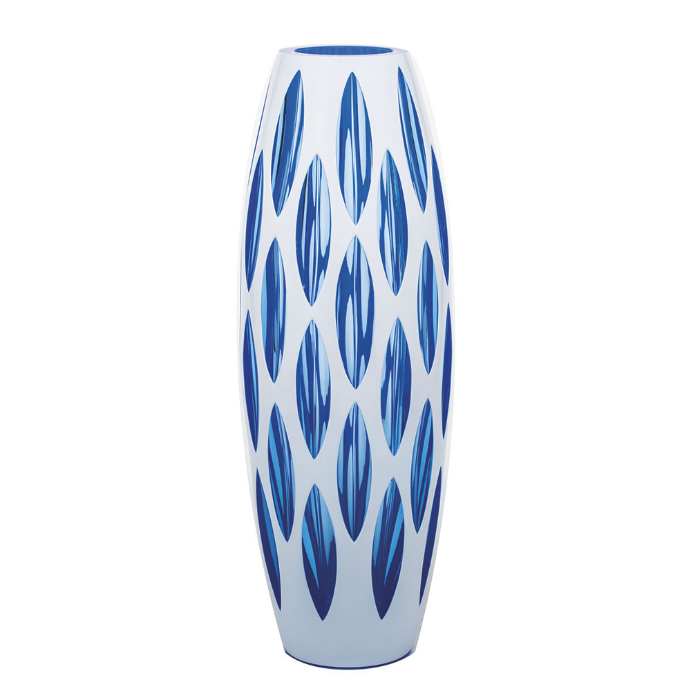 """Moser Crystal Simple Vase 13.8"""" Cut Wedges, Aqua and White"""