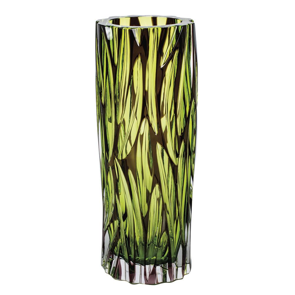 "Moser Crystal Wood Vase 11.4"" Wedge Cuts, Multicolor"