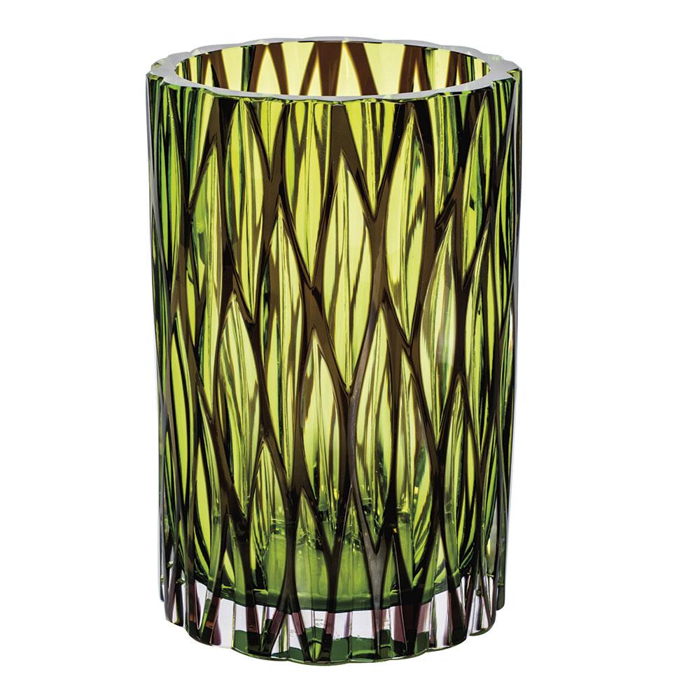 "Moser Crystal Wood Vase 8.6"" Wedge Cuts, Multicolor"