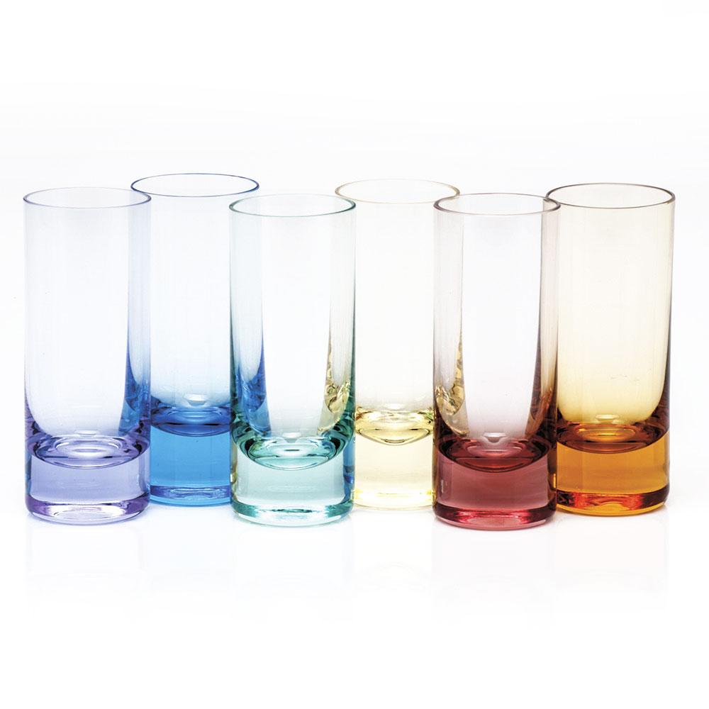 Moser Crystal Vodka Shot Glasses, Set of 6, Rainbow Colors