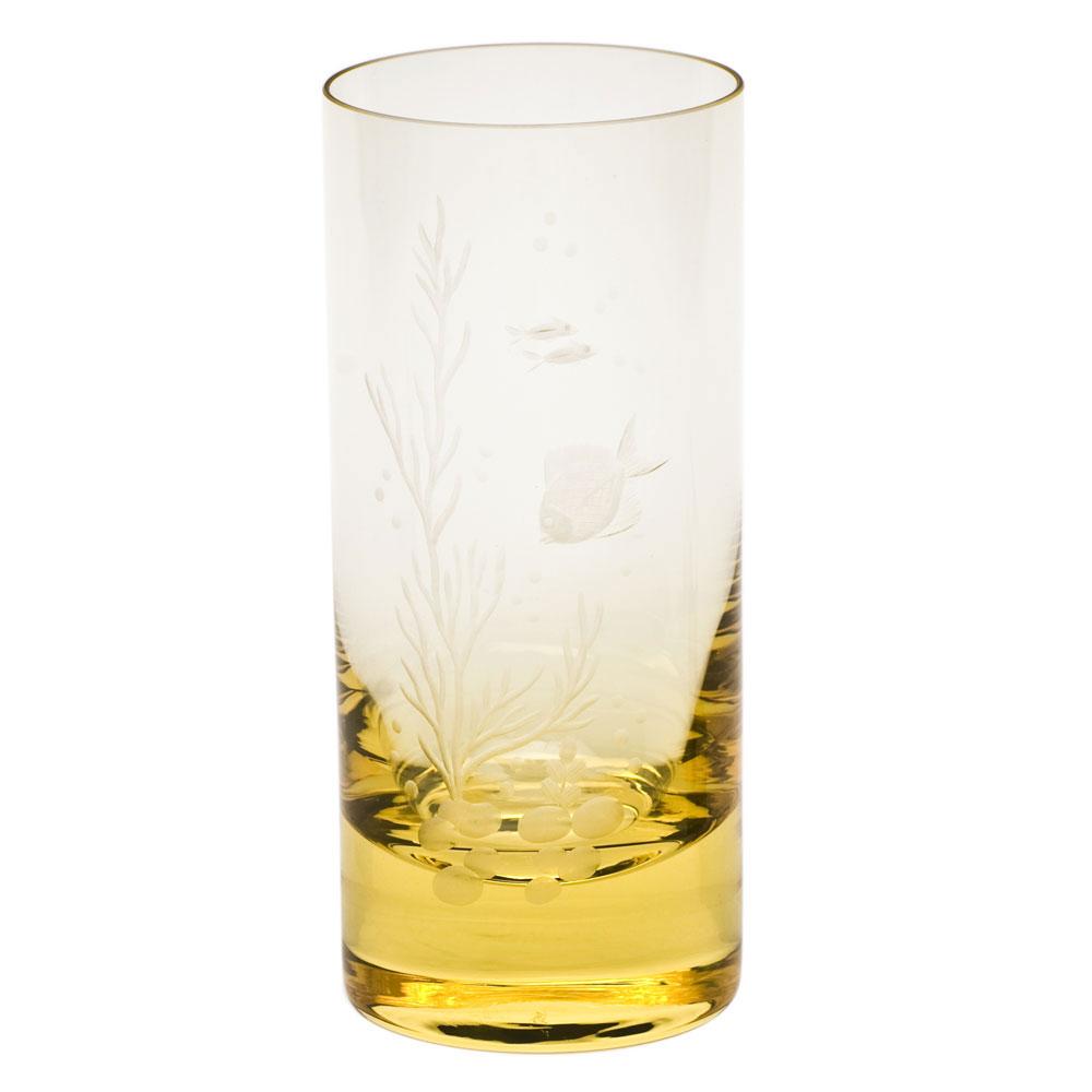 Moser Crystal Whisky Hiball 13.5 Oz. Ocean Life #2 - Eldor