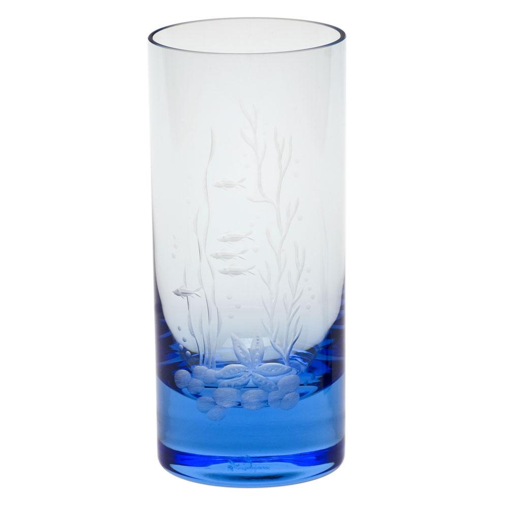Moser Crystal Whisky Hiball 13.5 Oz. Ocean Life #3 - Aquamarine