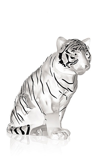 Lalique Sitting Tiger, Grand Sculpture, Clear, Limited Edition