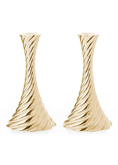 "Michael Aram Gold Twist 8.5"" Candleholders Pair"