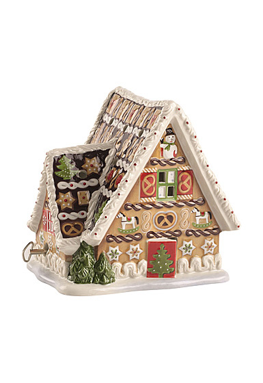 "Villeroy and Boch Christmas Toys Musical Gingerbread House ""Let It Snow"""