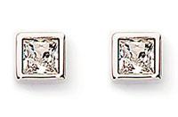 Swarovski Crystal and Rhodium Princess Cut Pierced Earrings