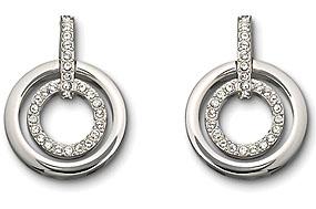 Swarovski Rhodium And Crystal Pave Circles Drop Pierced Earrings