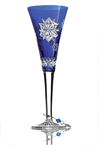 Waterford Crystal, Snowflake Wishes Friendship Cobalt Crystal Flute, Single