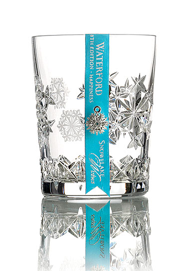 Waterford Crystal, Snowflake Wishes Happiness 2018 Crystal Clear DOF Tumbler Glass, Single