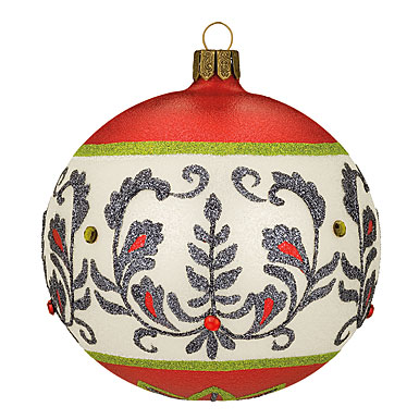 """Waterford HH Damask Elegance Ball Ornament, 4"""""""
