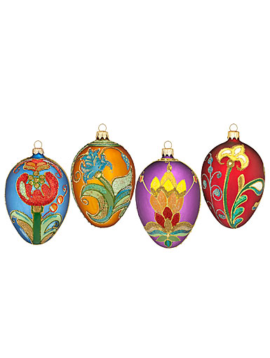 Waterford HH JOL Beaded Lace Seasonal Eggs Ornaments, Set of 4, 5""