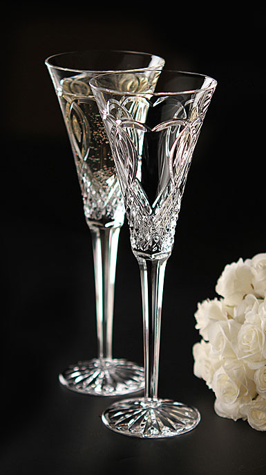 Waterford Crystal, Wedding Toasting Crystal Flutes, Pair