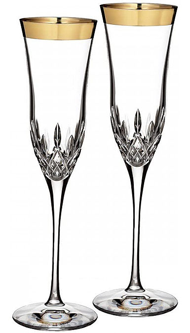 Waterford Lismore Essence Gold Champagne Crystal Toasting Flute, Pair