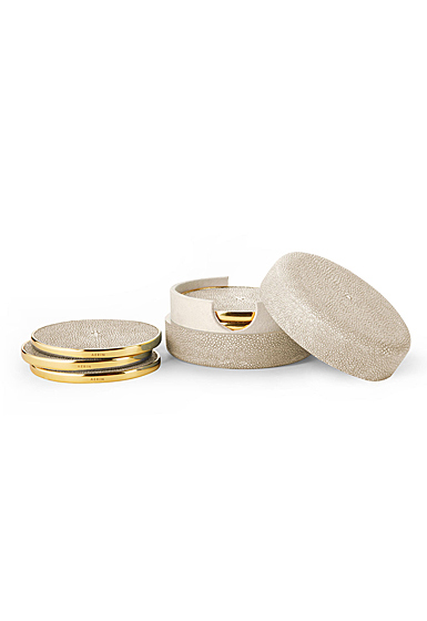 Aerin Shagreen Coasters, Wheat Set of Four