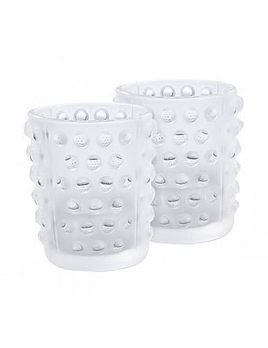 Lalique Mossi Clear Votives, Pair