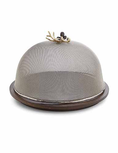Michael Aram Olive Branch Mesh Dome with Wood Base