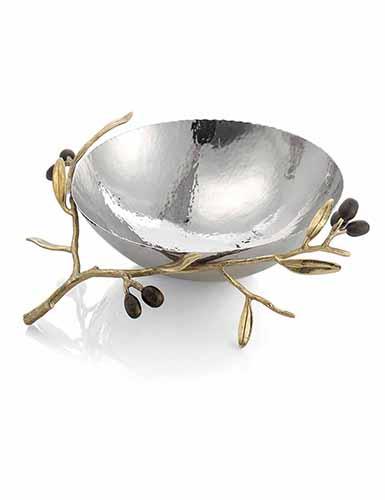 """Michael Aram Olive Branch Gold 10 1/2"""" Serving Bowl"""