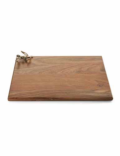 Michael Aram Olive Branch Gold Oval Wood Serving Board