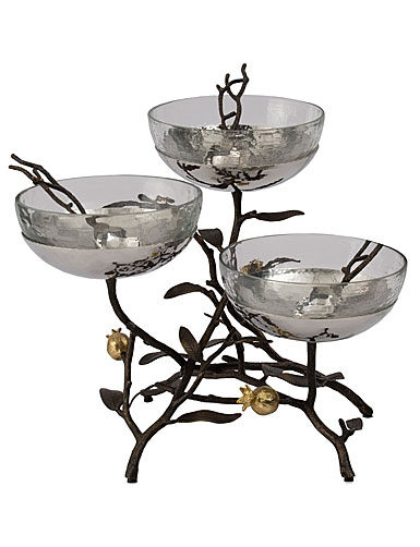 Michael Aram Pomegranate Triple Bowl Set with Spoons