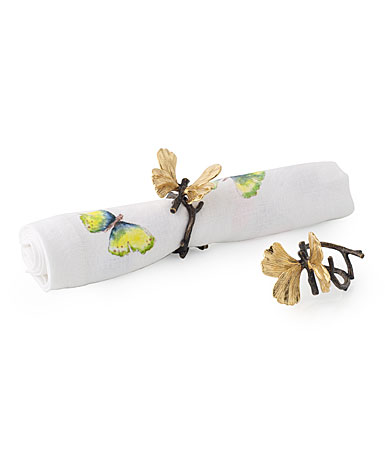 Michael Aram Butterfly Ginkgo Napkin Ring Set Set Of 4