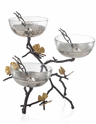Michael Aram Butterfly Ginkgo Triple Bowl Set with Spoons