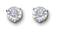 Swarovski Crystal and Rhodium Solitaire Pierced Earrings