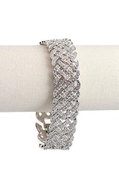 Swarovski Rhodium and Crystal Pave Diamanta Bracelet