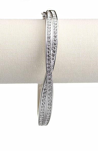 Swarovski Rhodium and Crystal Edith Bangle Bracelet