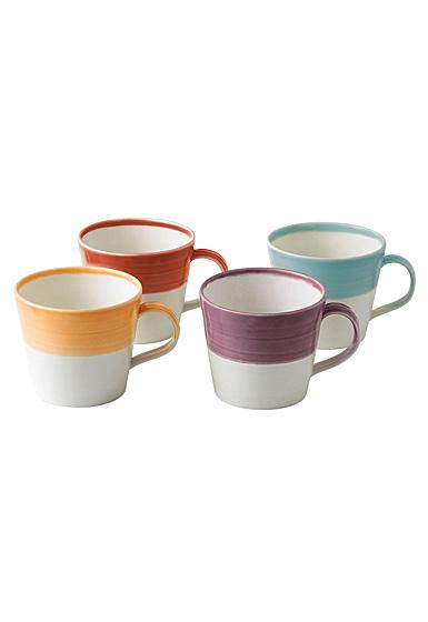 Royal Doulton 1815 Mixed Patterns Mug Set of 4 Bright Colors