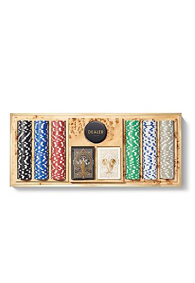 Aerin Shagreen Poker Set, Cream