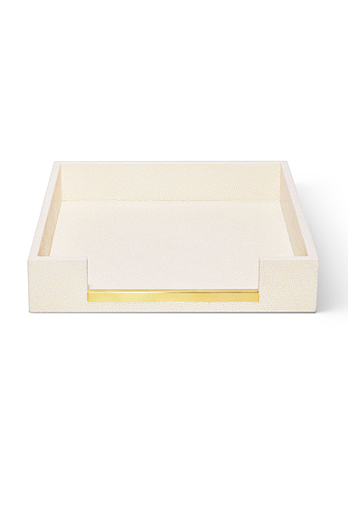 Aerin Shagreen Paper Tray, Cream