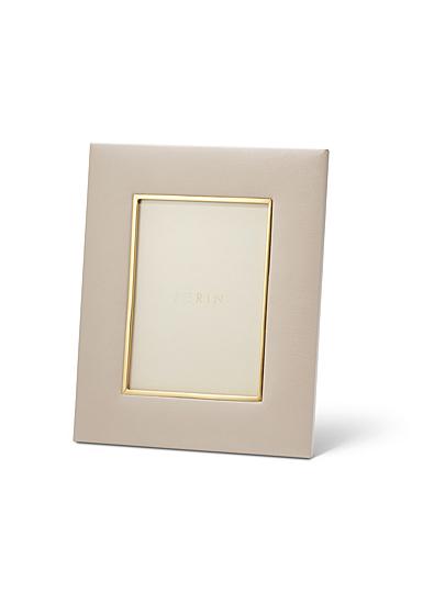 "Aerin Valentina Leather Frame, Pebble 5x7"""