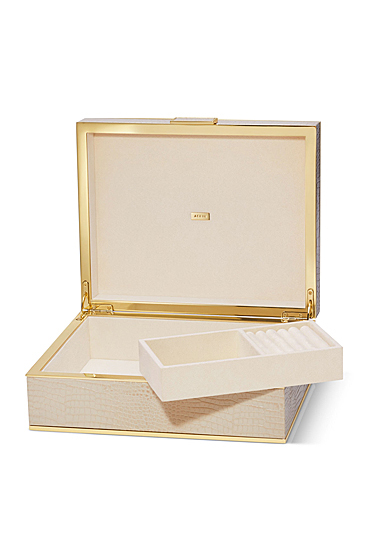 Aerin Classic Croc Large Jewelry Box, Fawn
