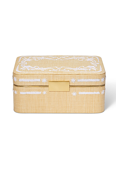 Aerin Beauvais Embroidered Raffia Jewelry Box, Natural