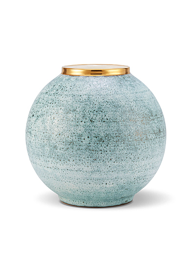 Aerin Calinda Round Vase, Blue Grotto, Gold