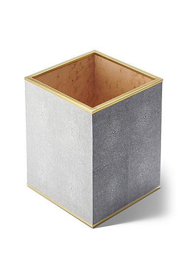 Aerin Classic Shagreen Waste Basket, Dove