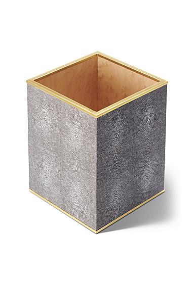 Aerin Classic Shagreen Waste Basket, Chocolate